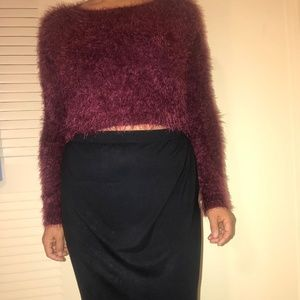 Hollister Fuzzy Maroon Semi- Cropped Sweater